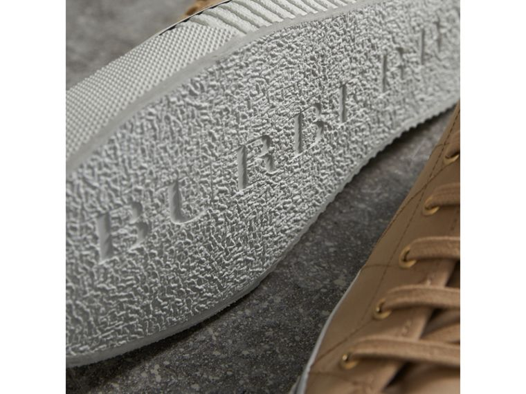 Topstitched Cotton Gabardine Trainers in Honey - Men | Burberry - cell image 1