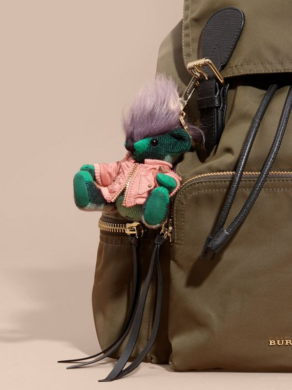 Thomas Bear Charm with Shearling and Pallas Heads Appliqué Bomber Emerald Green - cell image 2