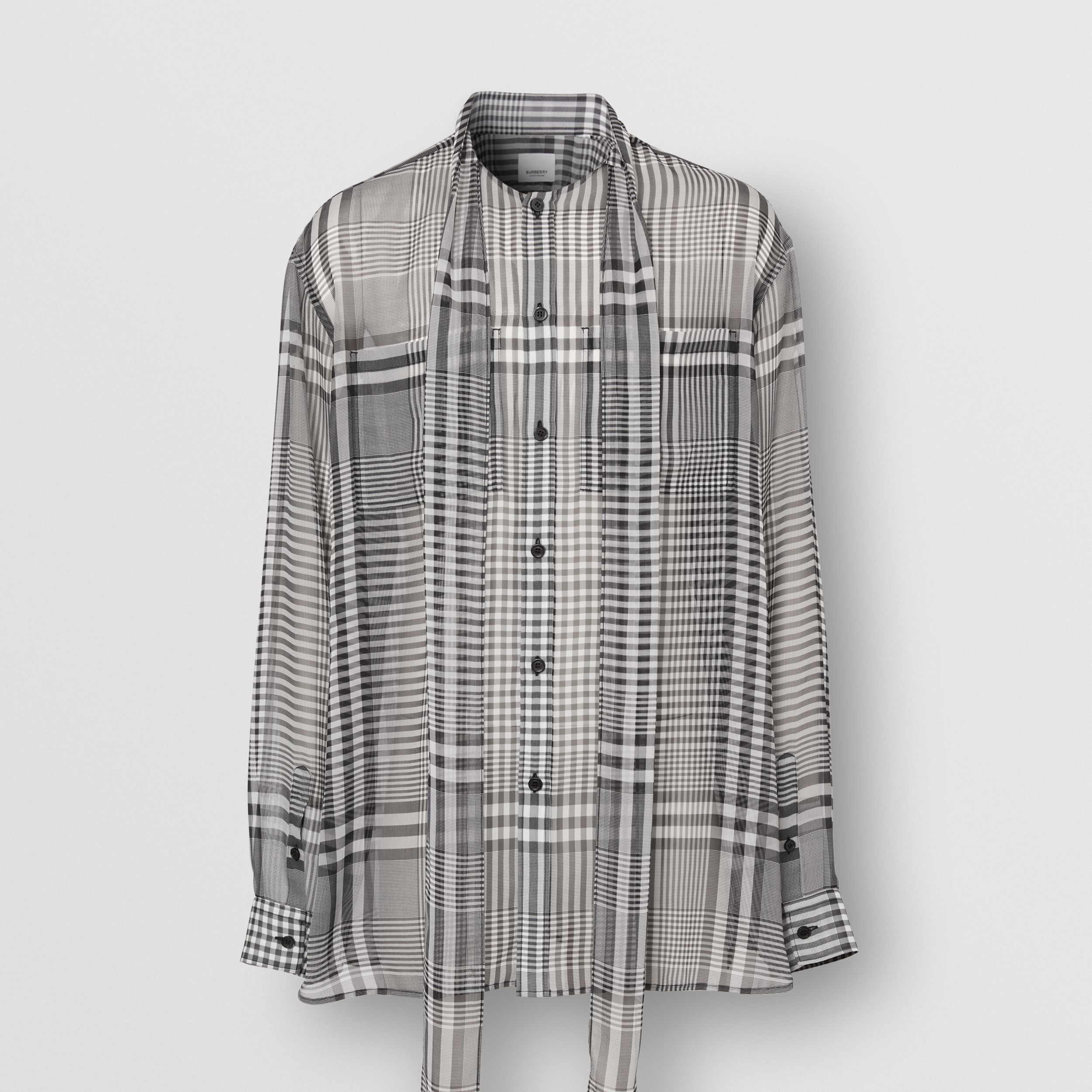 Check Silk Georgette Oversized Tie-neck Shirt in Black - Men | Burberry - 4