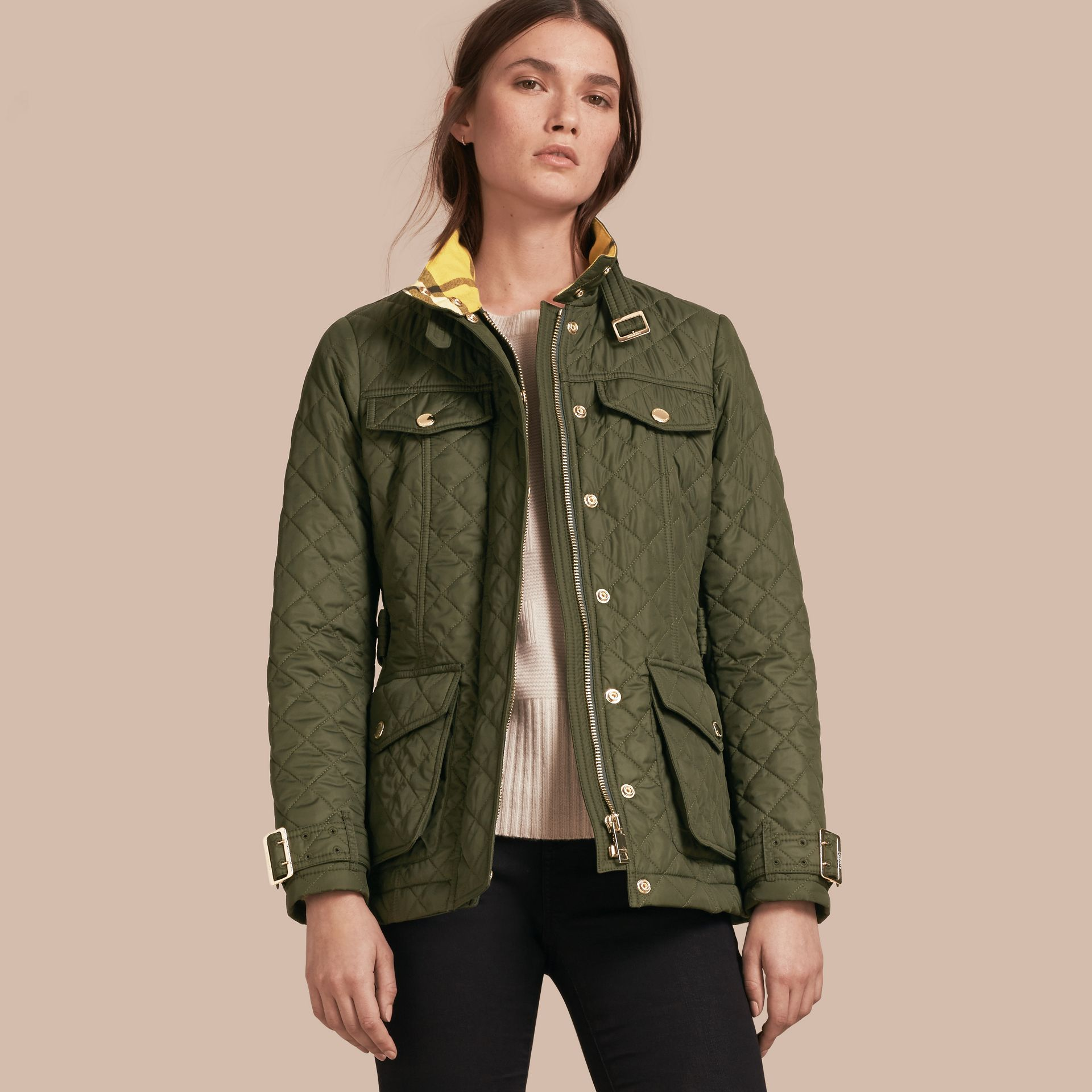 Buckle Detail Technical Field Jacket in Military Green - gallery image 1