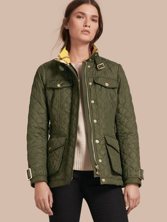 Buckle Detail Technical Field Jacket Military Green