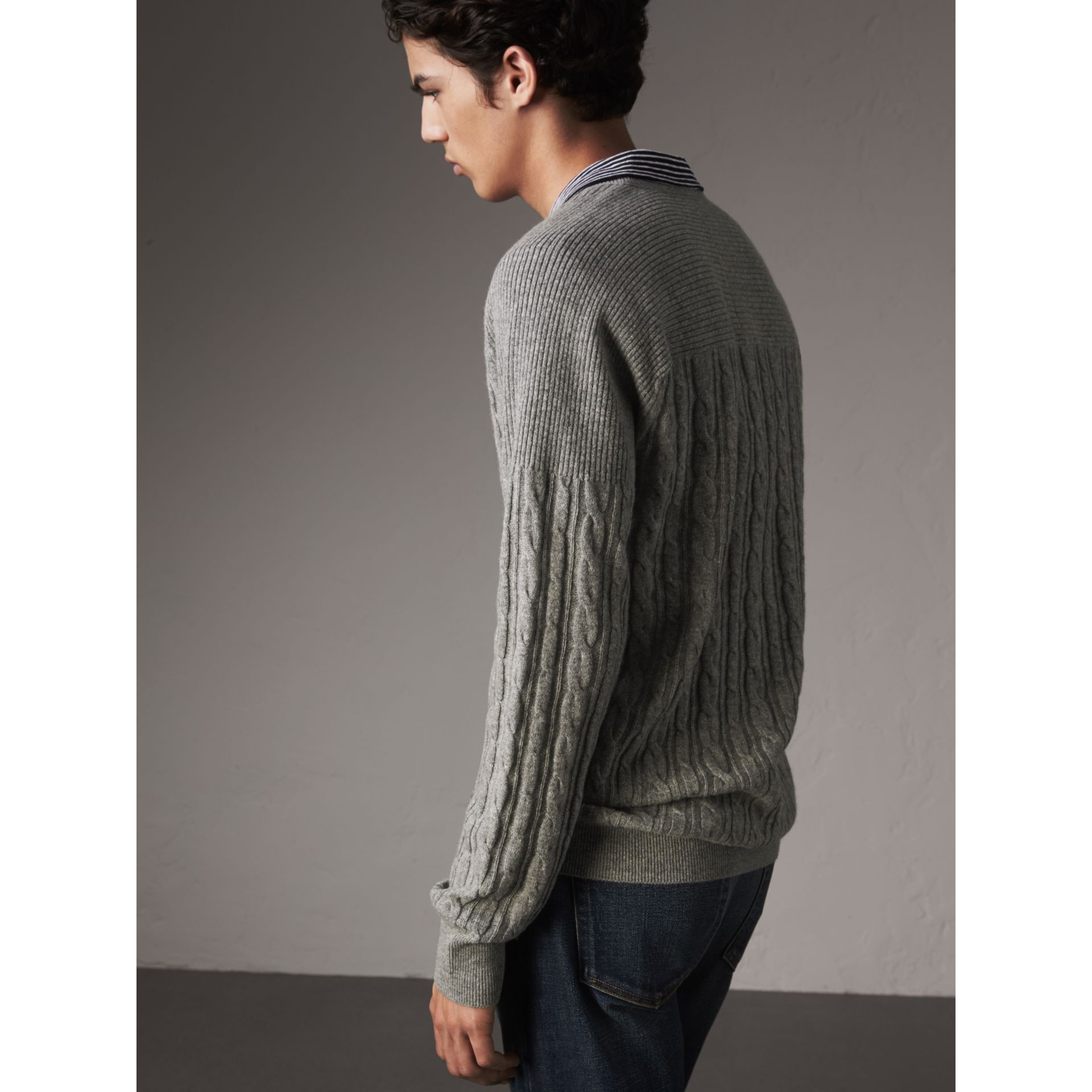 Cable and Rib Knit Cashmere V-neck Sweater in Mid Grey Melange - Men | Burberry - gallery image 3