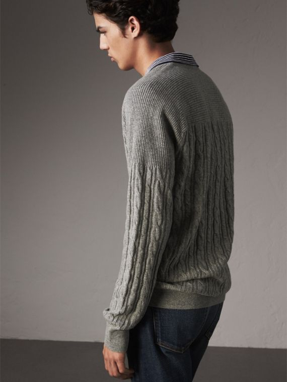 Cable and Rib Knit Cashmere V-neck Sweater in Mid Grey Melange - Men | Burberry - cell image 2