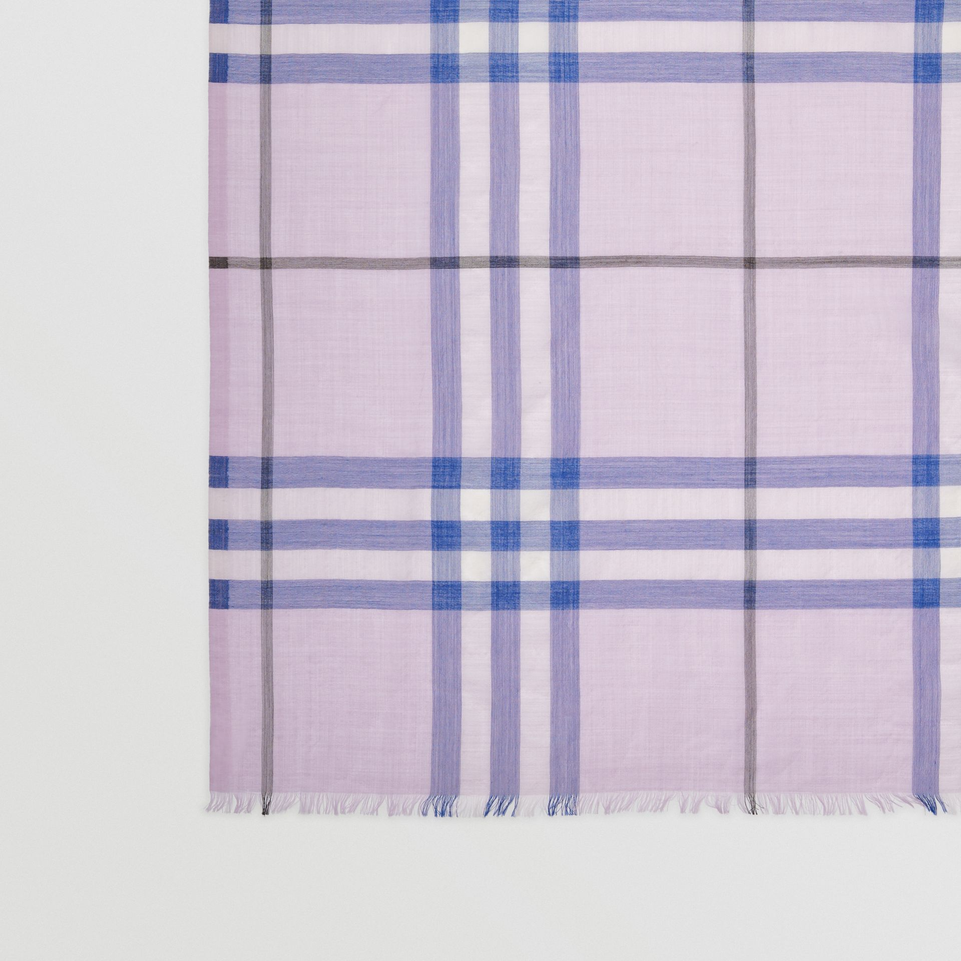 Lightweight Check Wool and Silk Scarf in Pale Orchid | Burberry - gallery image 1