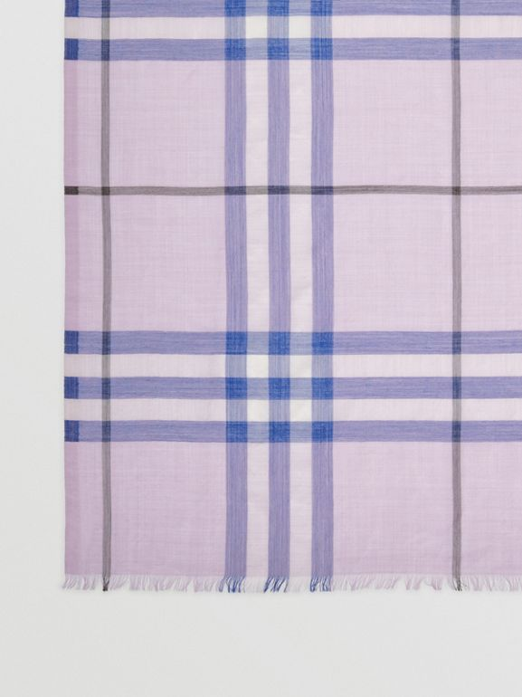 Lightweight Check Wool and Silk Scarf in Pale Orchid | Burberry - cell image 1