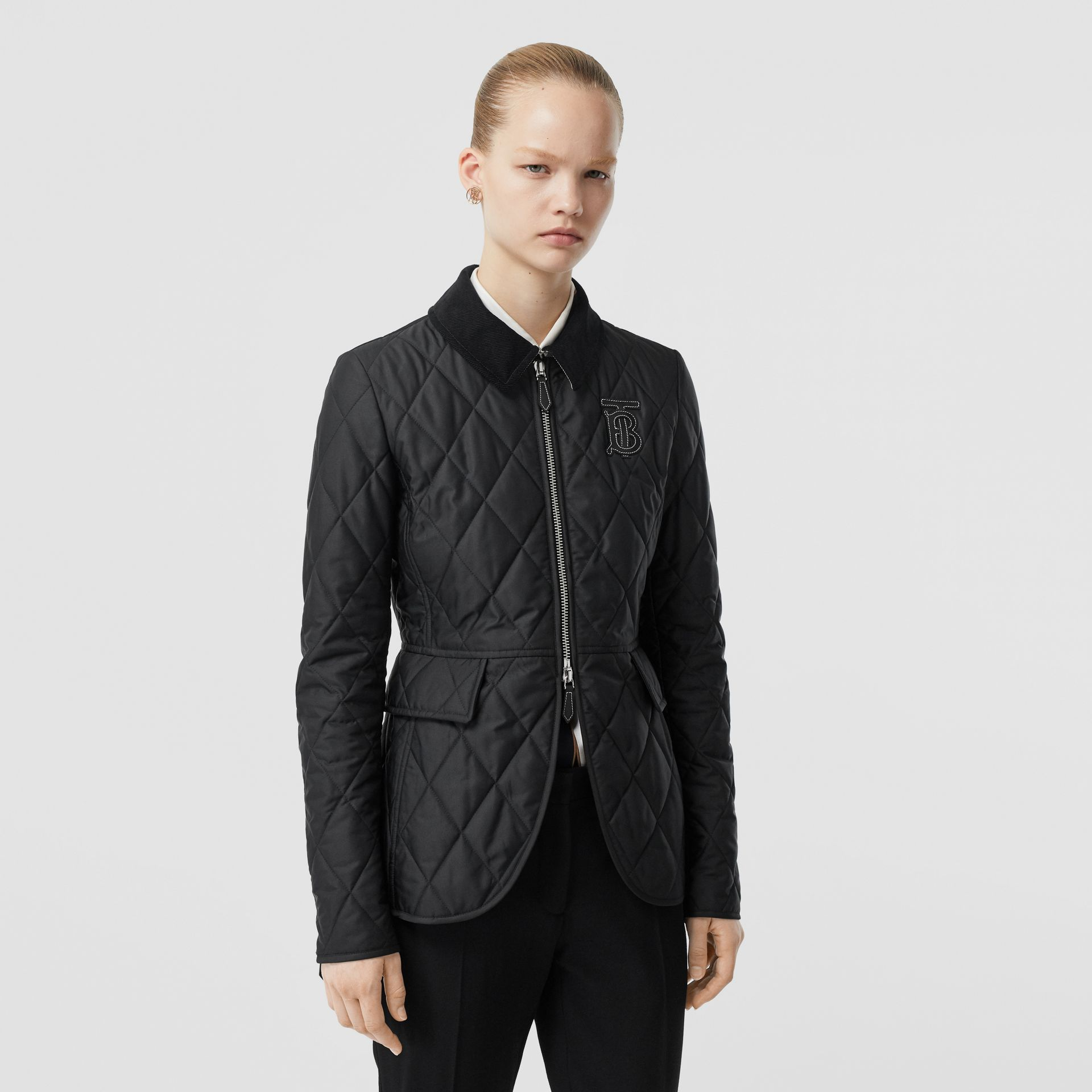 Monogram Motif Quilted Riding Jacket in Black - Women | Burberry - gallery image 5