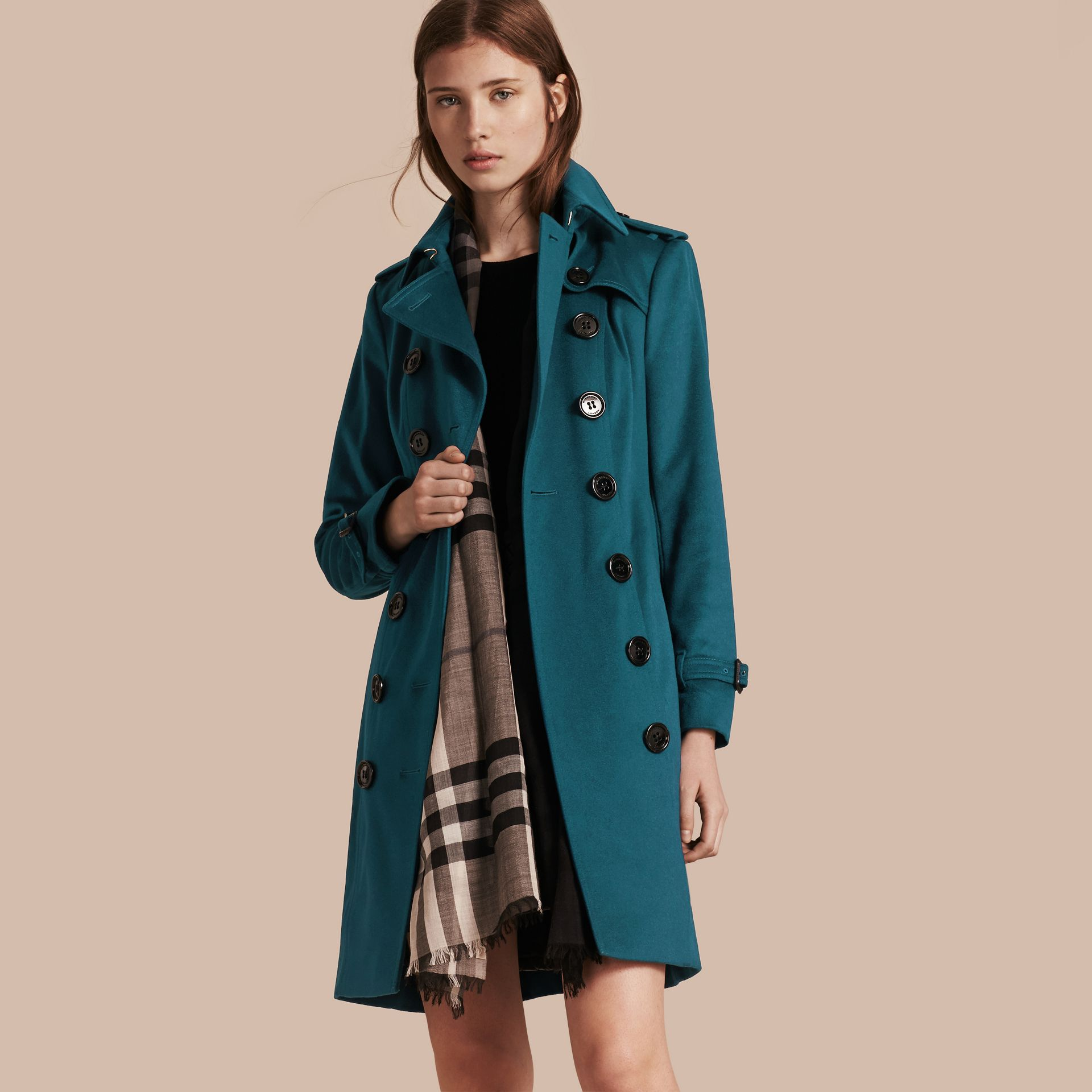 Teal Sandringham Fit Cashmere Trench Coat Teal - gallery image 1