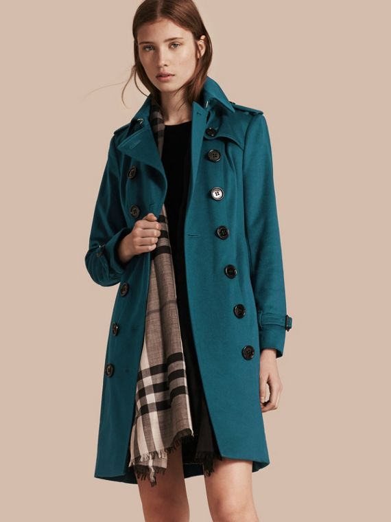Sandringham Fit Cashmere Trench Coat Teal
