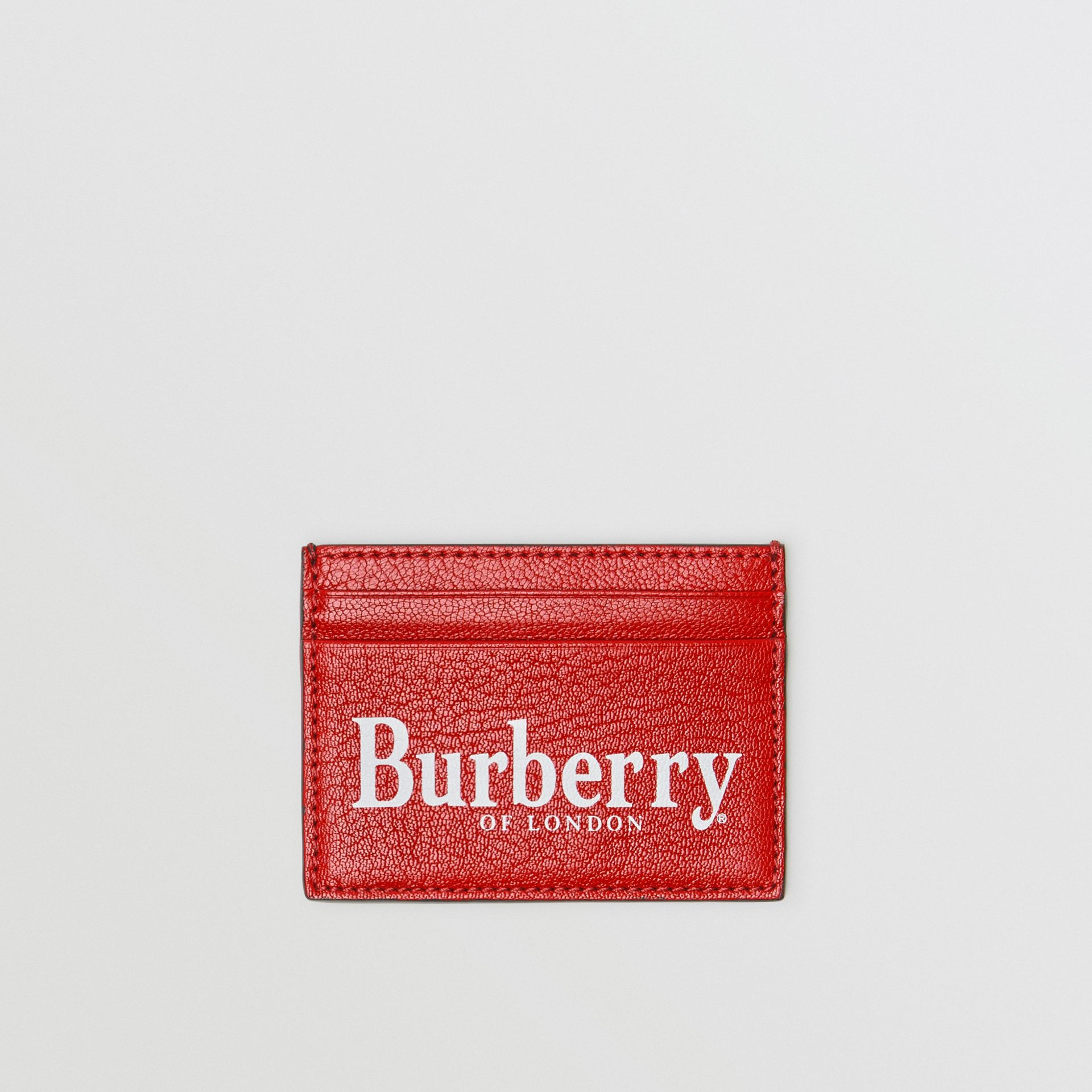 Logo Print Leather Card Case in Rust Red/black - Men | Burberry - gallery image 0