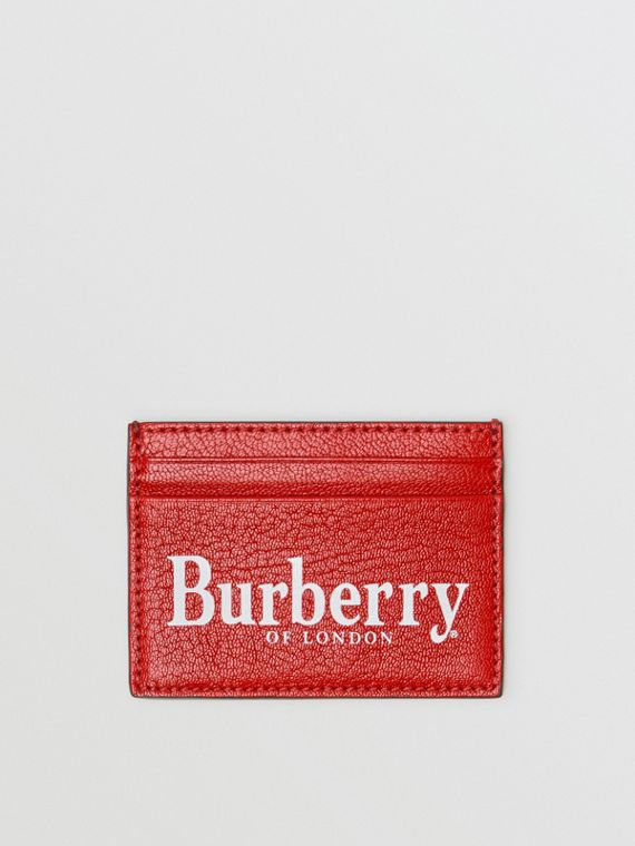 Logo Print Leather Card Case in Rust Red/black