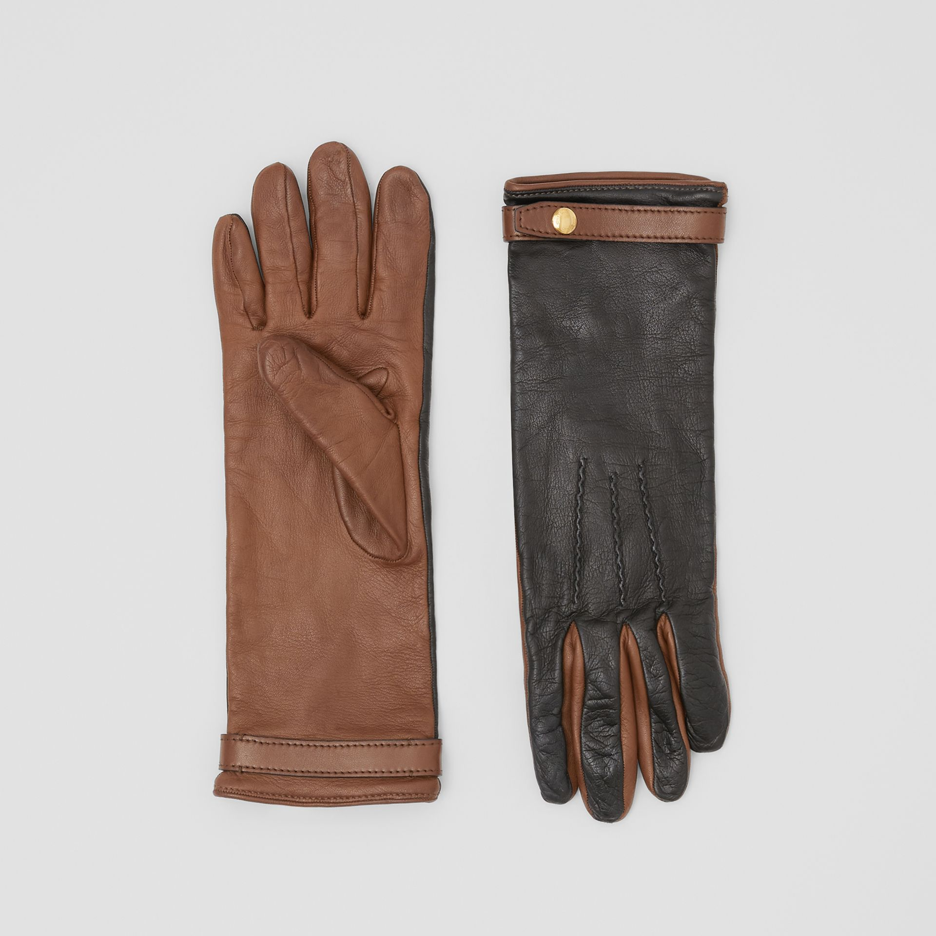 Silk-lined Two-tone Lambskin Gloves in Black/brown - Women | Burberry - gallery image 0