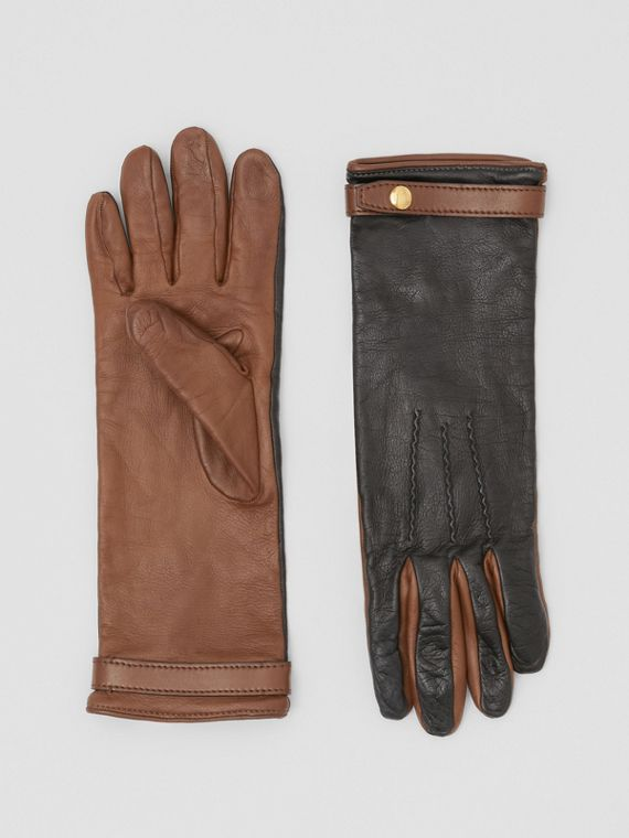 Silk-lined Two-tone Lambskin Gloves in Black/brown
