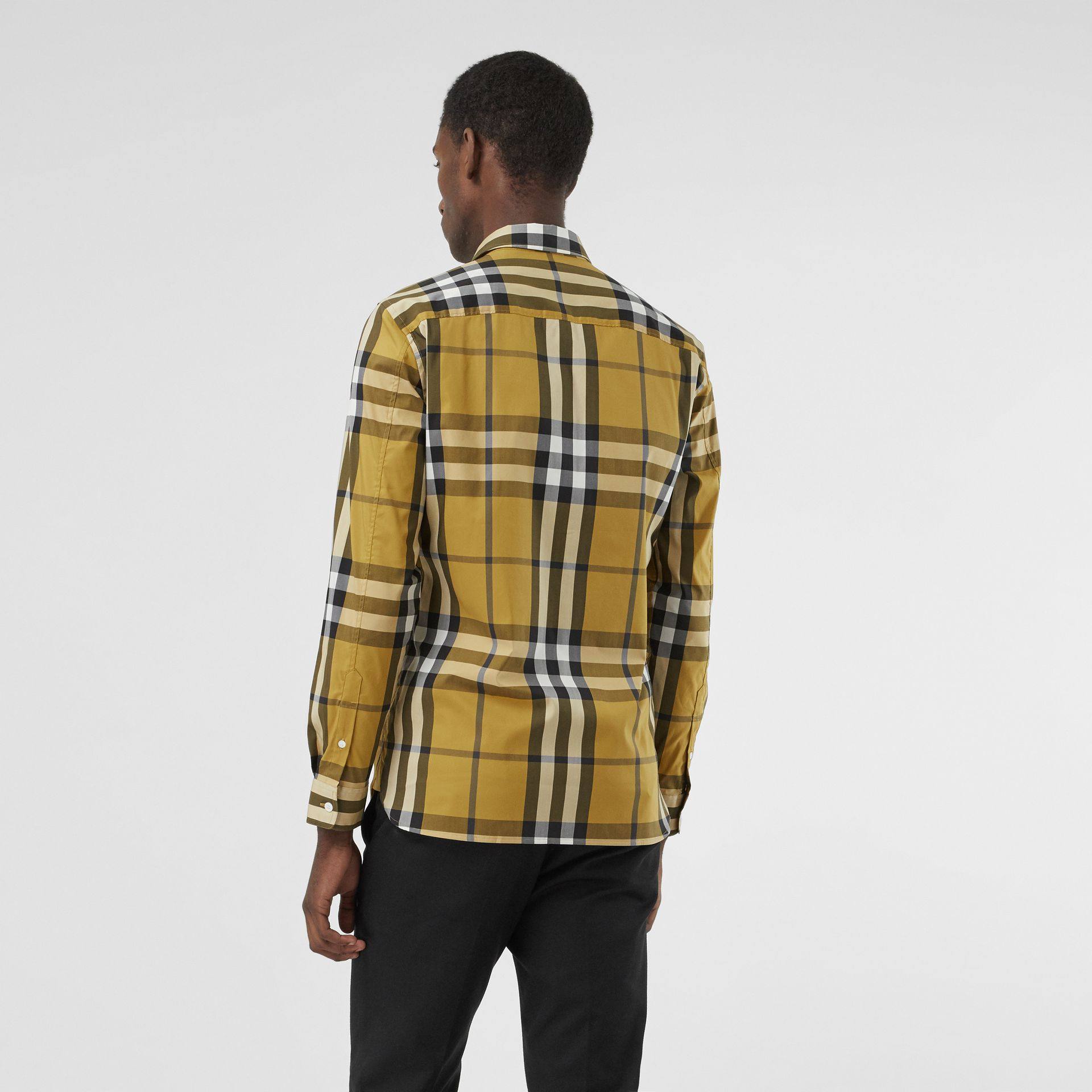 Check Stretch Cotton Shirt in Yellow - Men | Burberry - gallery image 2