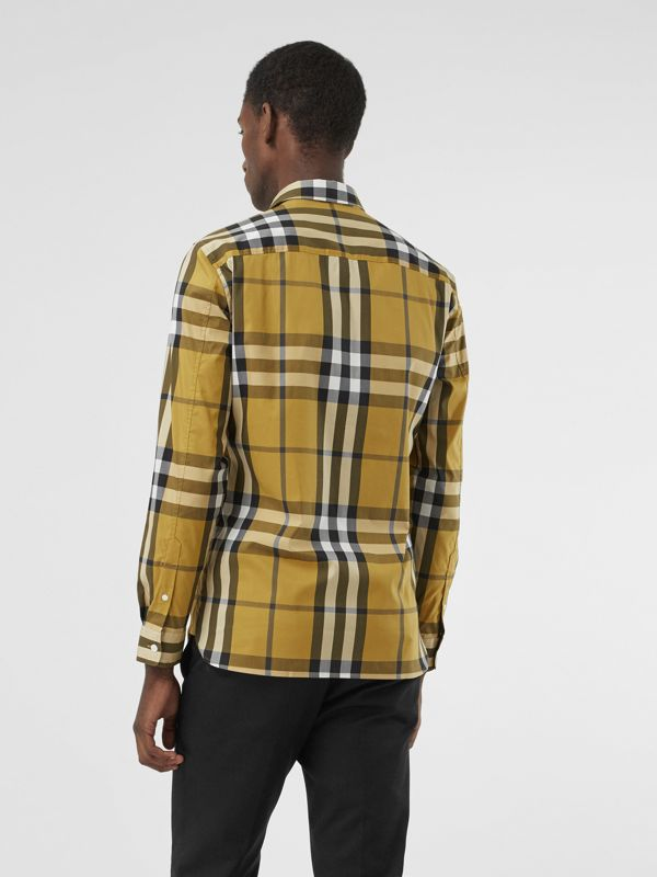 Check Stretch Cotton Shirt in Yellow - Men | Burberry - cell image 2