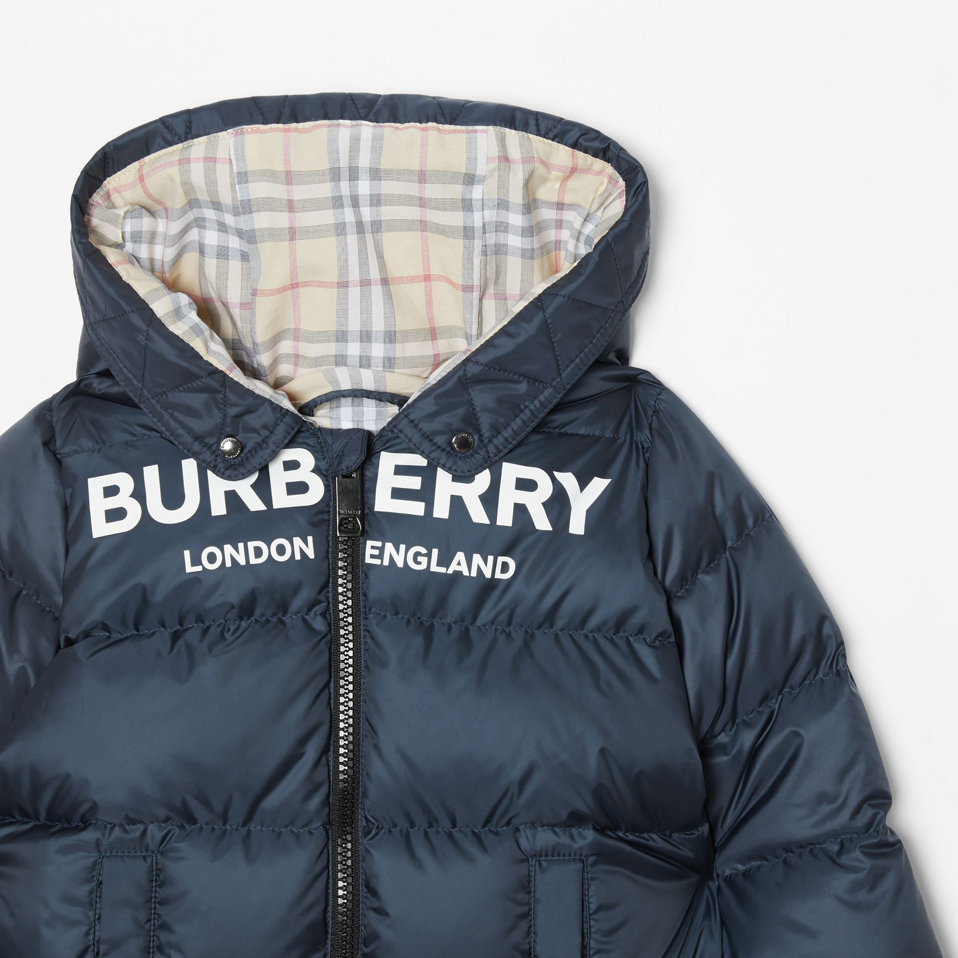 Logo Print Down-filled Puffer Suit in Navy - Children | Burberry United Kingdom - gallery image 4
