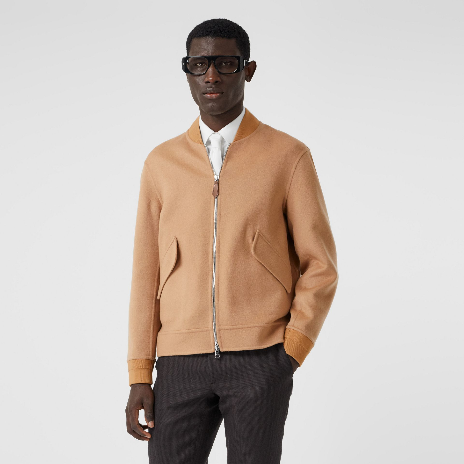 Double-faced Cashmere Bomber Jacket in Dark Camel - Men | Burberry - gallery image 5