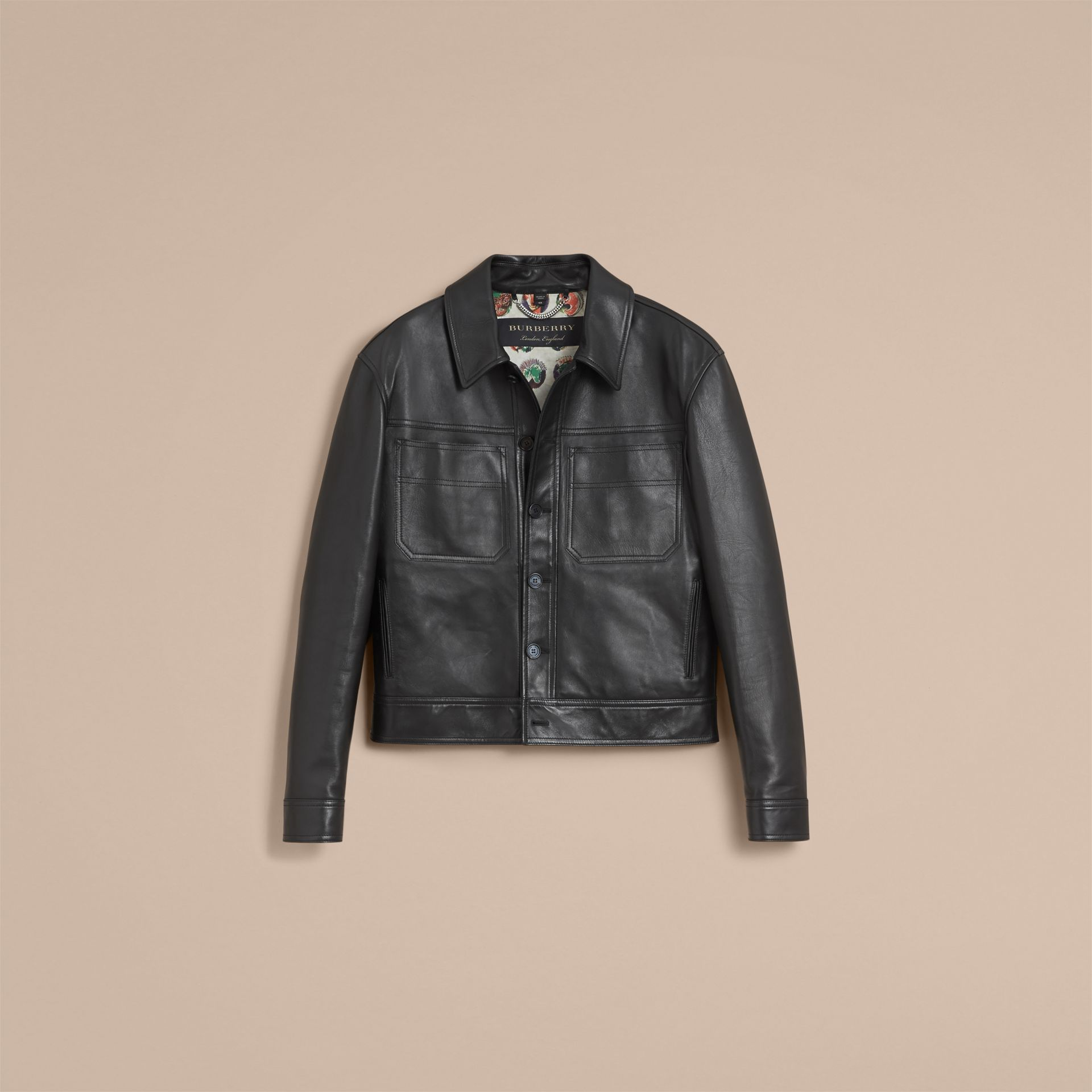 Leather Trucker Jacket with Pallas Heads Print Lining in Black - Men | Burberry Singapore - gallery image 4