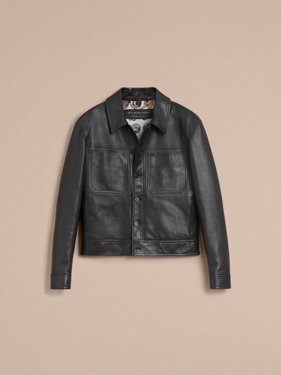 Leather Trucker Jacket with Pallas Heads Print Lining in Black - Men | Burberry Singapore - cell image 3