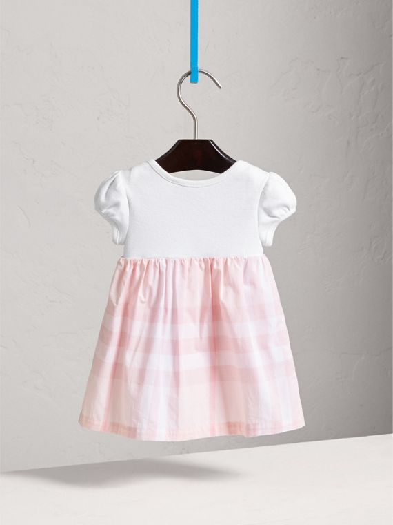 Check Detail Cotton Dress in Ice Pink | Burberry Canada - cell image 3
