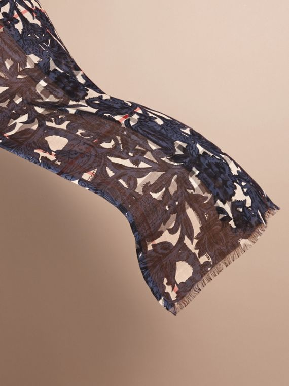 Beasts Print and Check Lightweight Wool Silk Scarf in Storm Blue - Women | Burberry - cell image 3