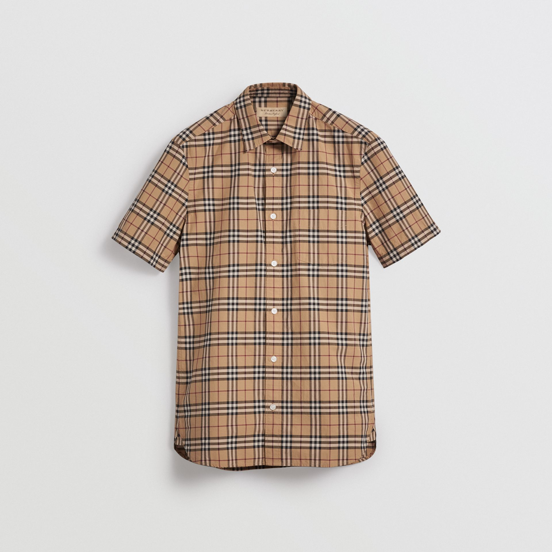Short-sleeve Check Cotton Shirt in Camel - Men | Burberry United Kingdom - gallery image 3