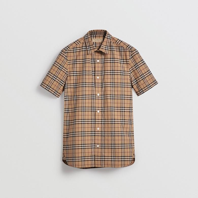 Burberry - Chemise en coton à manches courtes avec motif check - 4