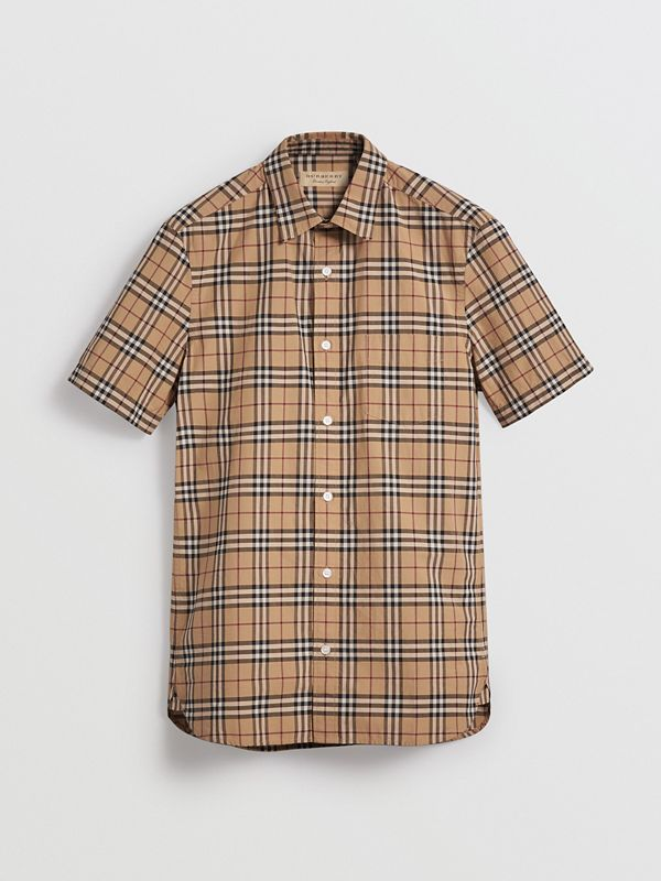 Short-sleeve Check Cotton Shirt in Camel - Men | Burberry Australia - cell image 3