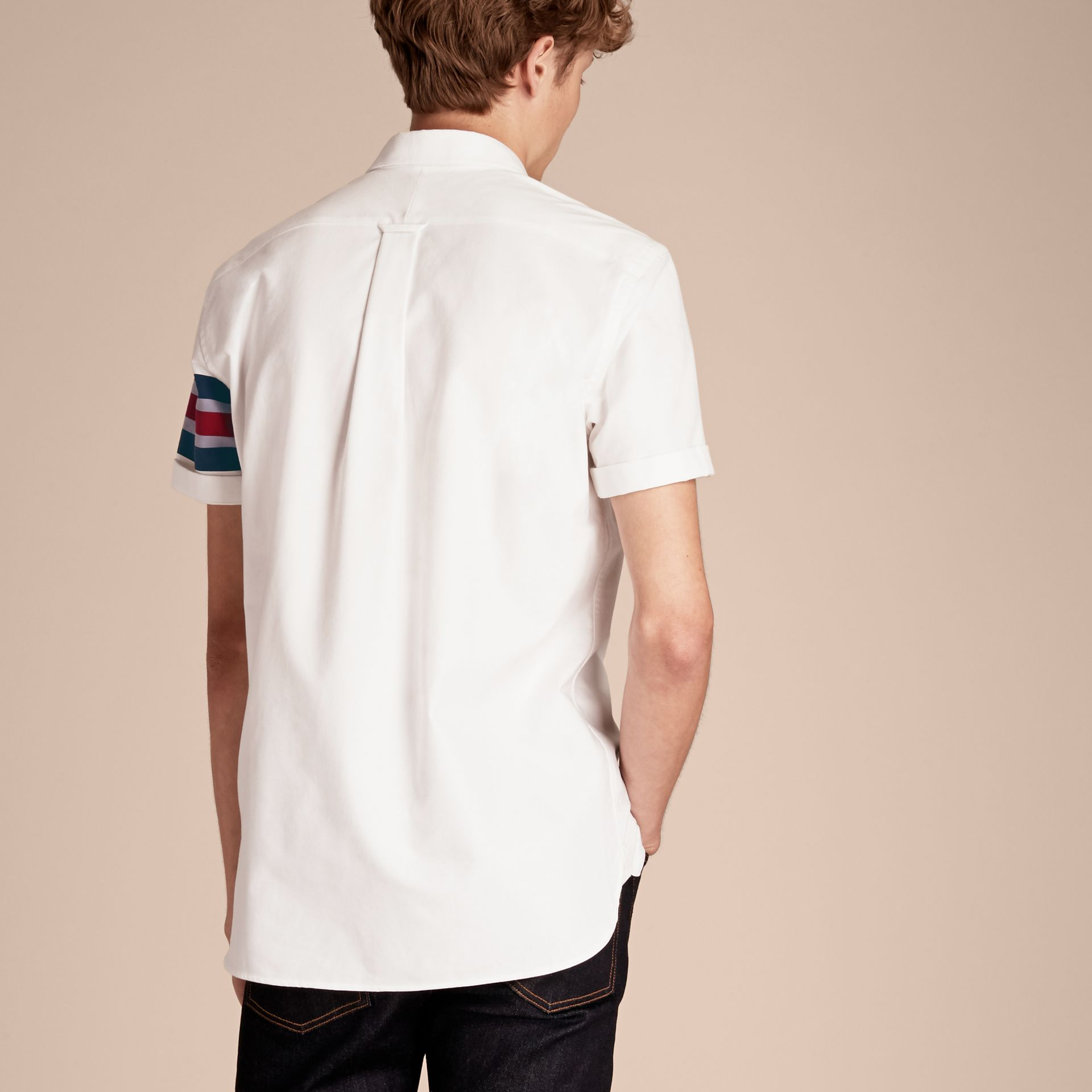 White Short-sleeved Oxford Cotton Shirt with Regimental Detail - gallery image 3