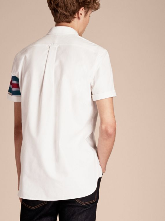 White Short-sleeved Oxford Cotton Shirt with Regimental Detail - cell image 2