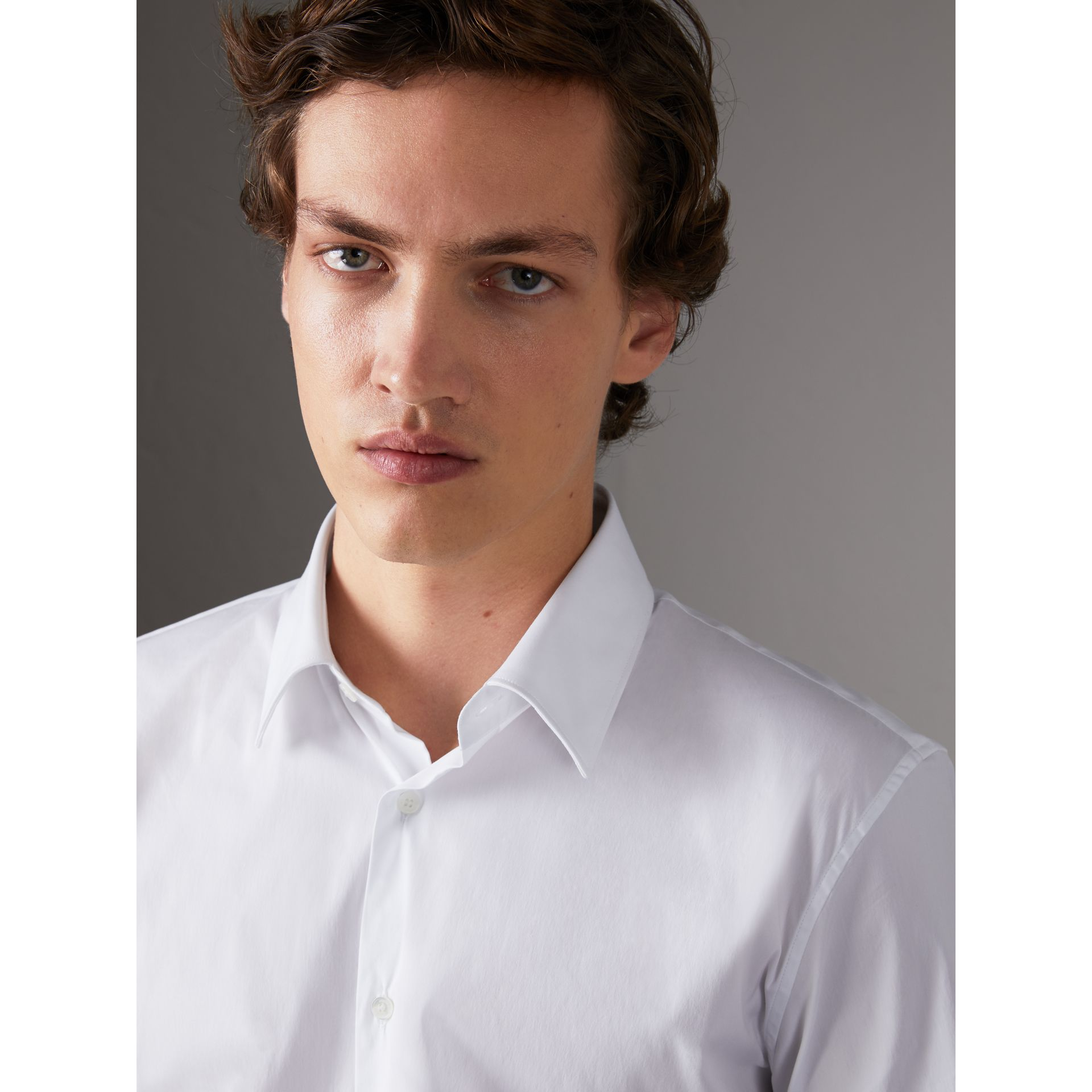 Slim Fit Short-sleeved Stretch Cotton Shirt in White - Men | Burberry - gallery image 4