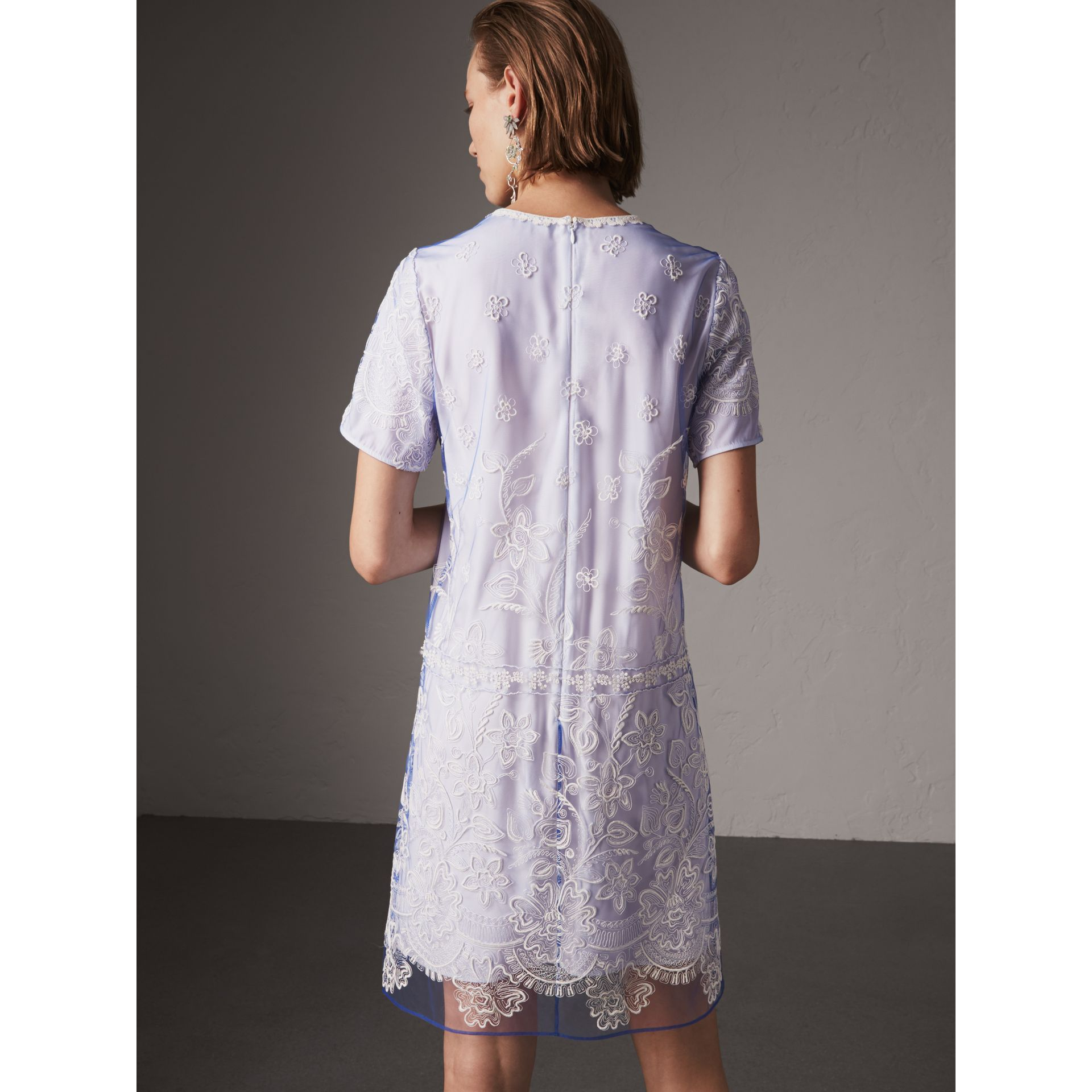 Floral-embroidered Tulle T-shirt Dress in Hydrangea Blue/white - Women | Burberry - gallery image 3