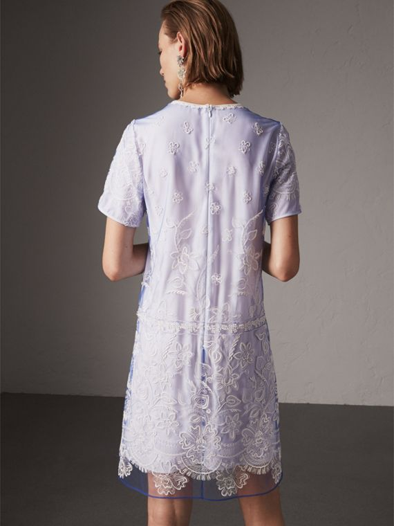 Floral-embroidered Tulle T-shirt Dress in Hydrangea Blue/white - Women | Burberry - cell image 2