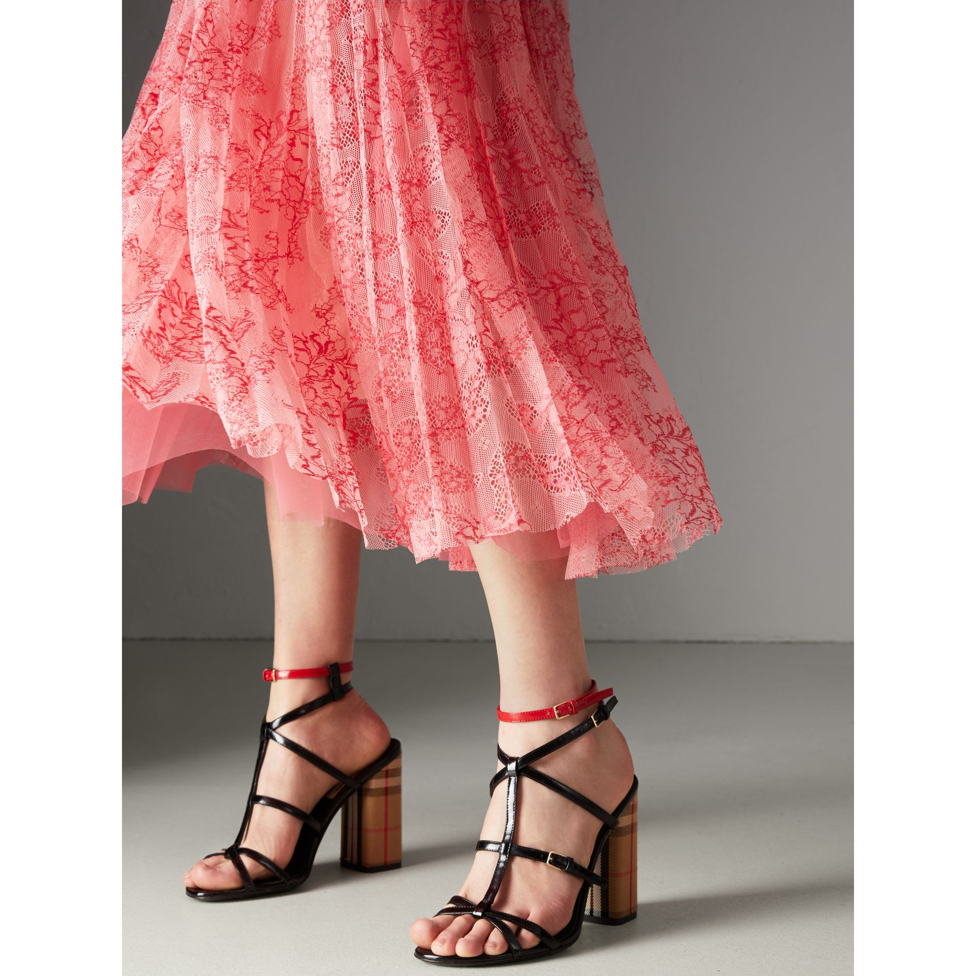 Pleated Lace Dress in Pale Apricot/coral - Women | Burberry United Kingdom - gallery image 1