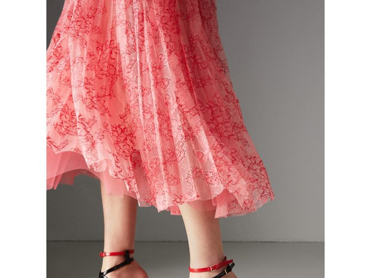 Pleated Lace Dress in Pale Apricot/coral - Women | Burberry United Kingdom - cell image 1