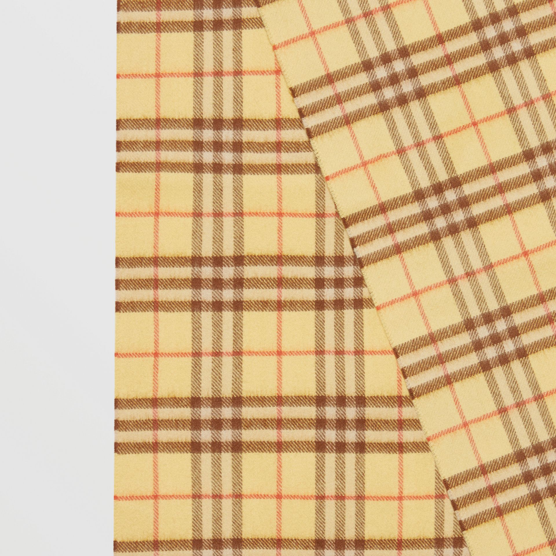 The Classic Vintage Check Cashmere Scarf in Pale Primrose | Burberry - gallery image 1