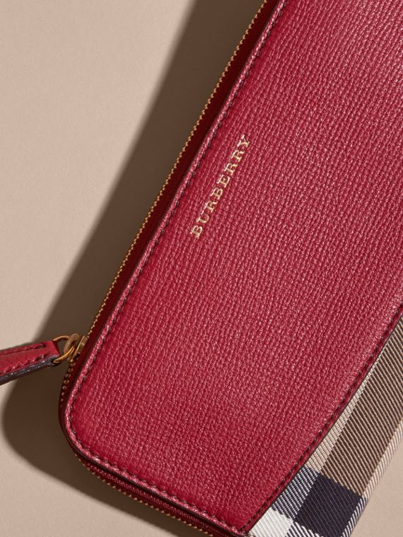 House Check and Leather Ziparound Wallet in Military Red - Women | Burberry Australia - cell image 3