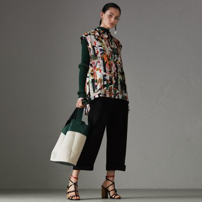 Archive Scarf Print Silk Sleeveless Shirt in Multicolour