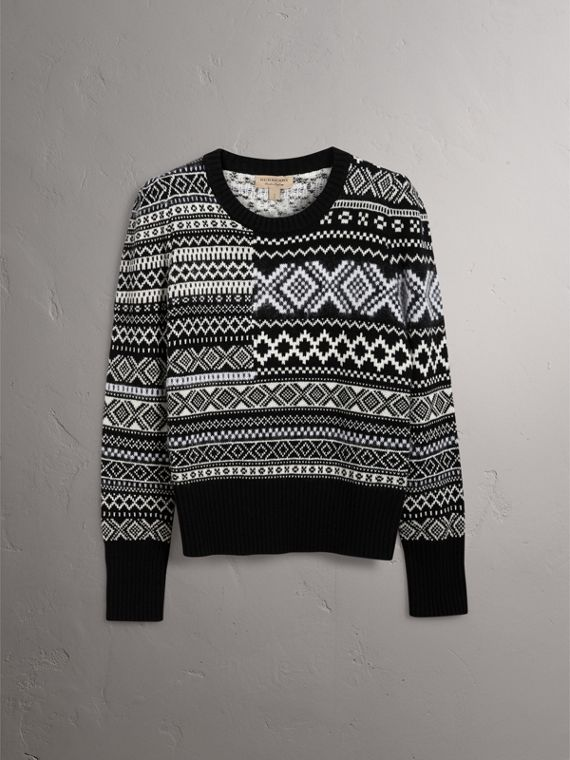 Fair Isle Cashmere Mohair Blend Patchwork Sweater in Black - Women | Burberry - cell image 3