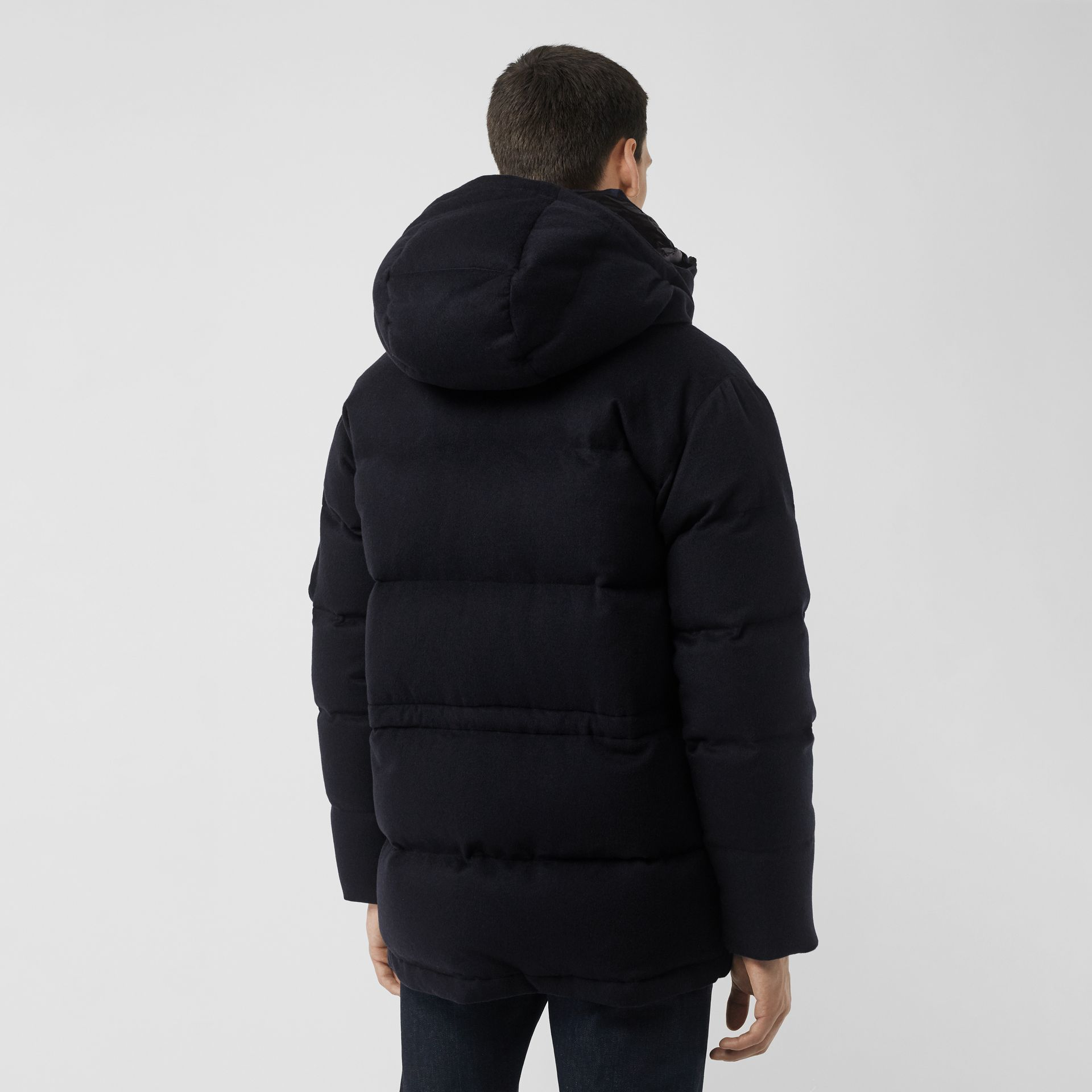 Cashmere Down-filled Hooded Jacket in Navy Melange - Men | Burberry - gallery image 2