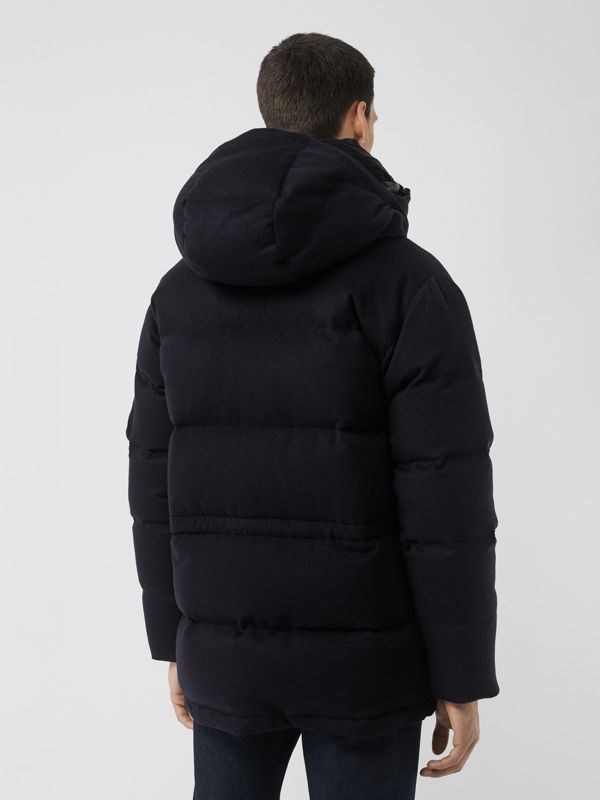 Cashmere Down-filled Hooded Jacket in Navy Melange - Men | Burberry - cell image 2