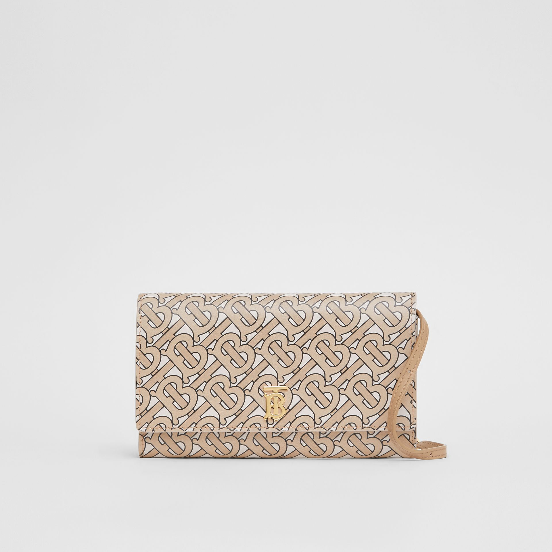 Monogram Print Leather Wallet with Detachable Strap in Beige - Women | Burberry United Kingdom - gallery image 0