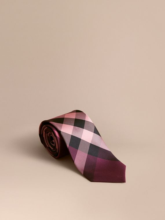 Modern Cut Check Silk Tie in Rose Pink