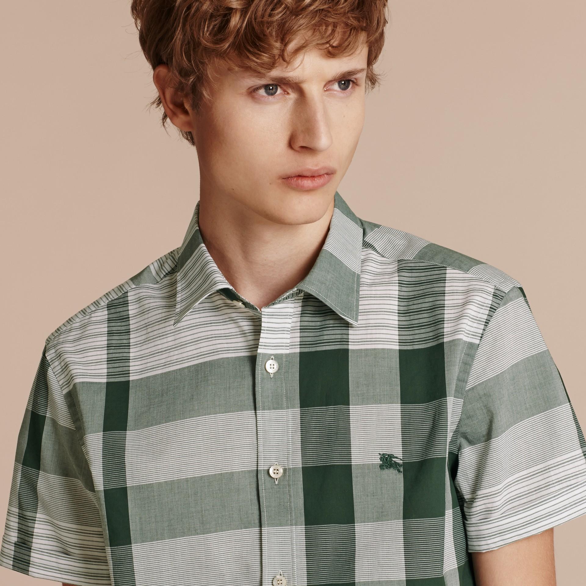 Short-sleeved Tonal Check Cotton Shirt Dark Bottle Green - gallery image 5