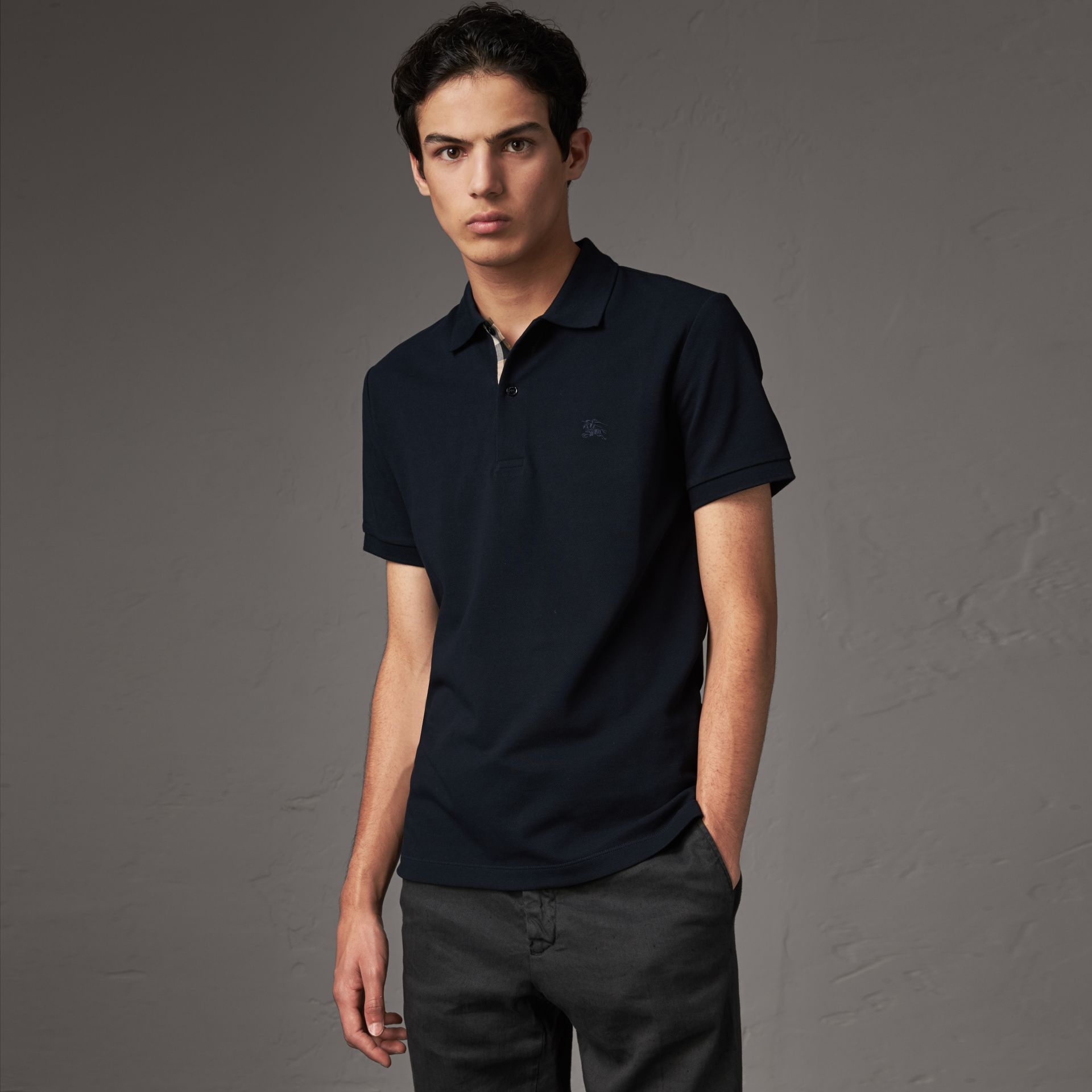 Check Placket Cotton Piqué Polo Shirt in Dark Navy - Men | Burberry Canada - gallery image 0