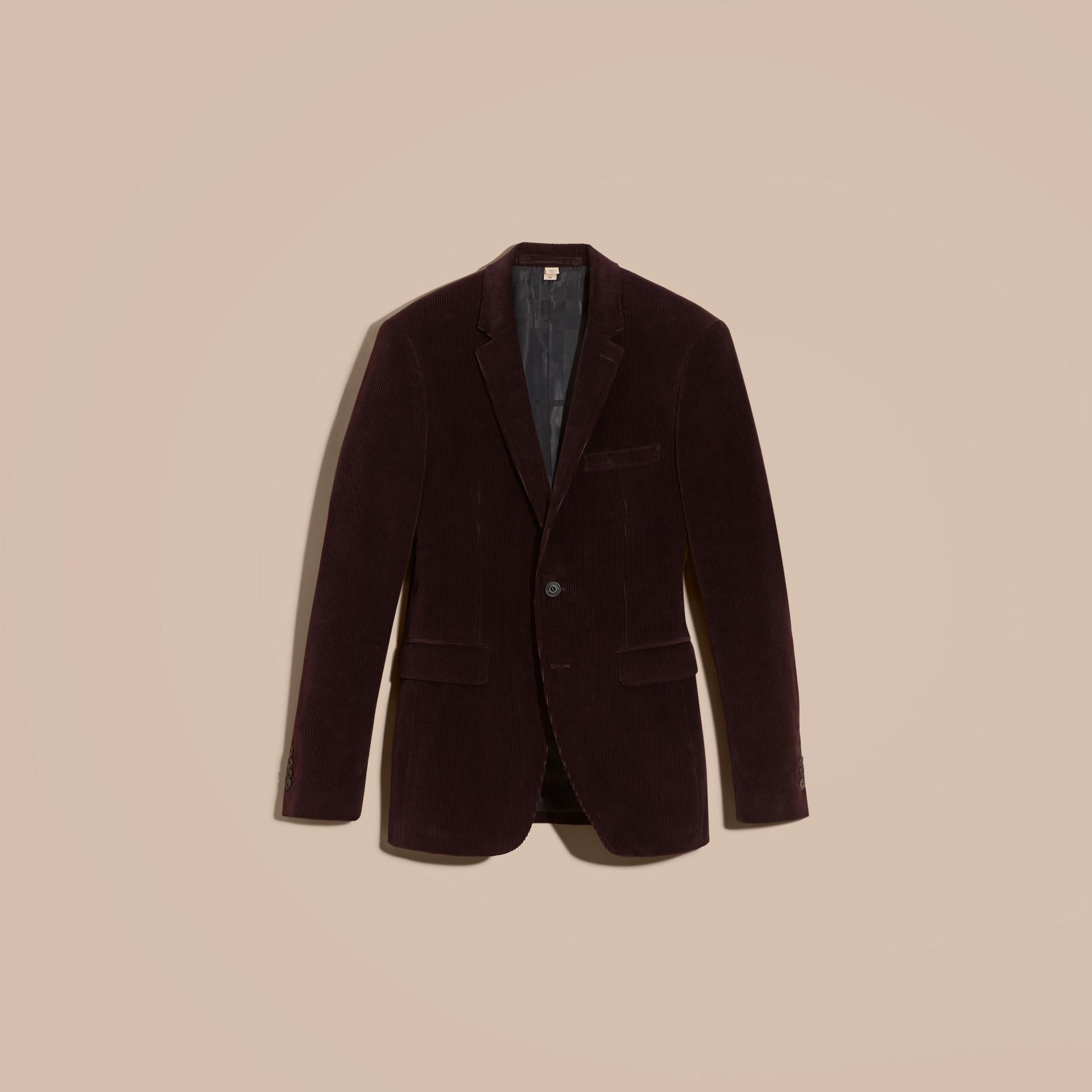 Violet indigo Veste de costume slim en coton côtelé - photo de la galerie 4