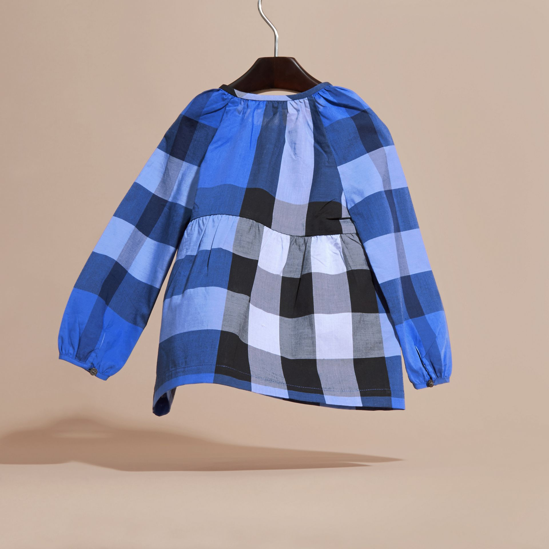 Bright hydrangea blue Puff Sleeve Check Cotton Blouse Bright Hydrangea Blue - gallery image 4