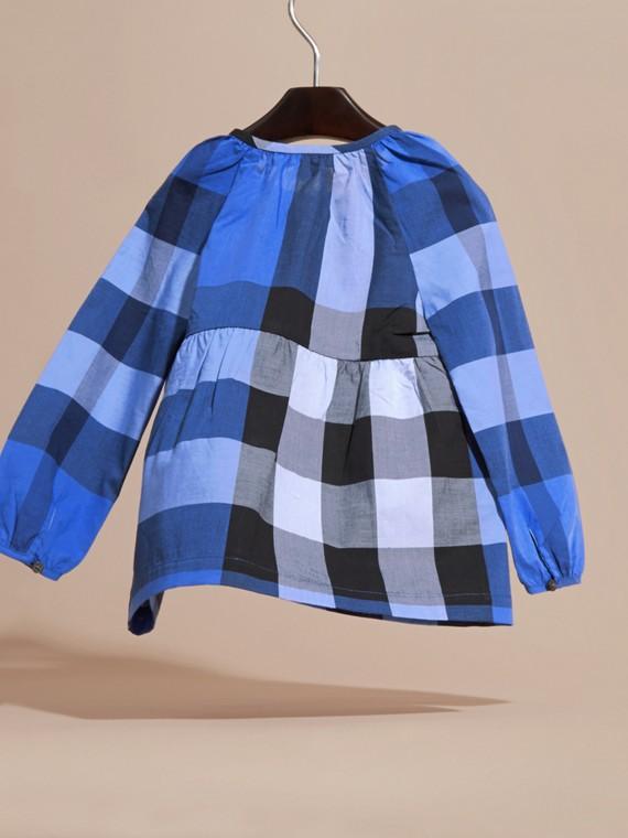 Bright hydrangea blue Puff Sleeve Check Cotton Blouse Bright Hydrangea Blue - cell image 3