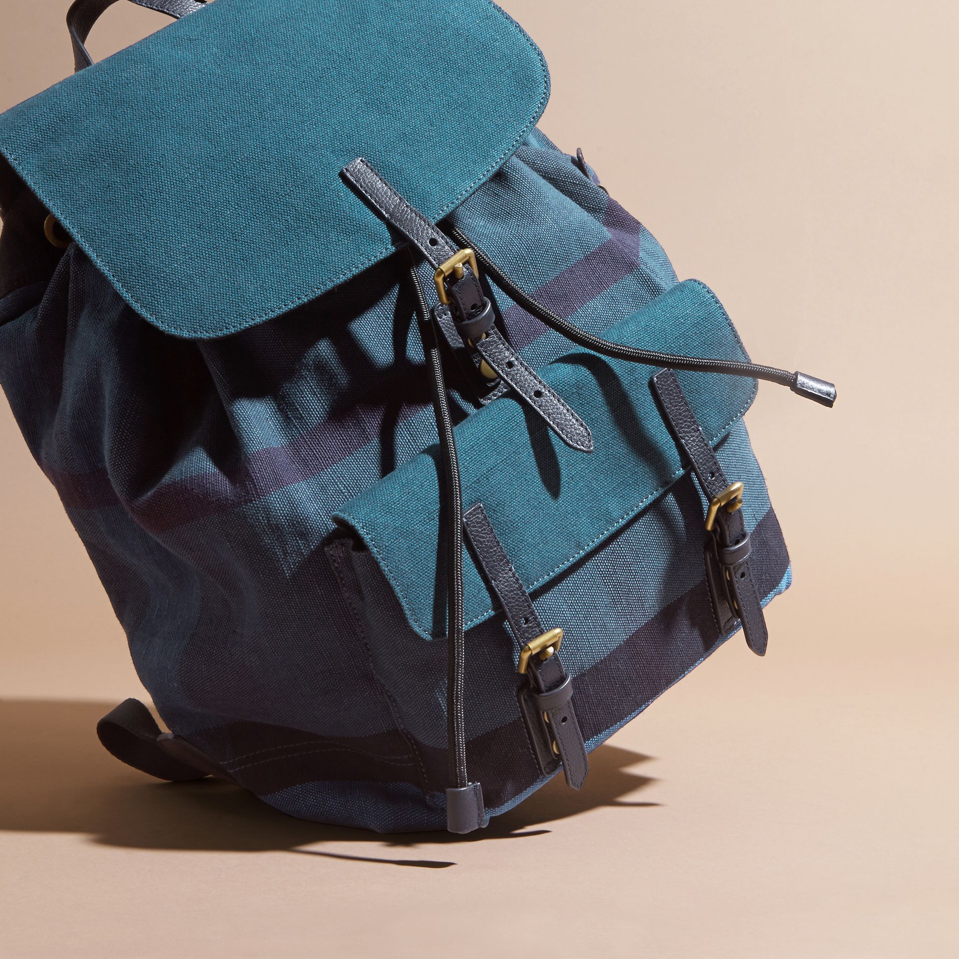 Ultramarine blue Overdyed Canvas Check Backpack Ultramarine Blue - gallery image 7
