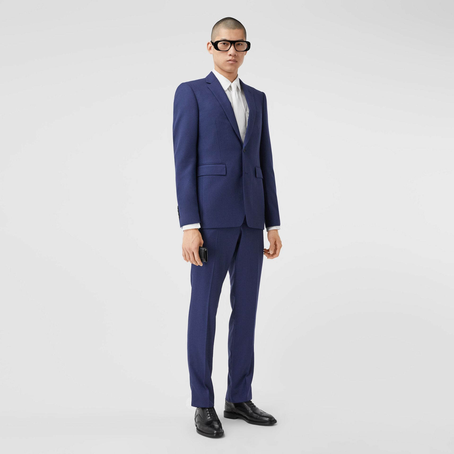Классический пиджак из шерсти с узором «птичий глаз» (Насыщенный Темно-синий) - Для мужчин | Burberry - изображение 5
