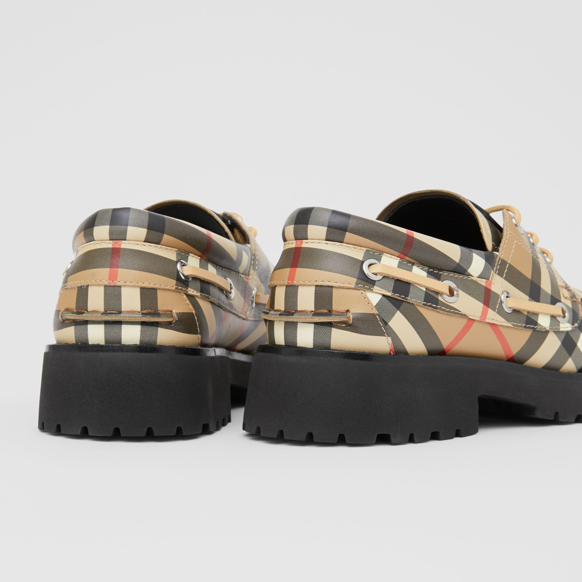 Vintage Check Leather Boat Shoes in Archive Beige - Children | Burberry - gallery image 1